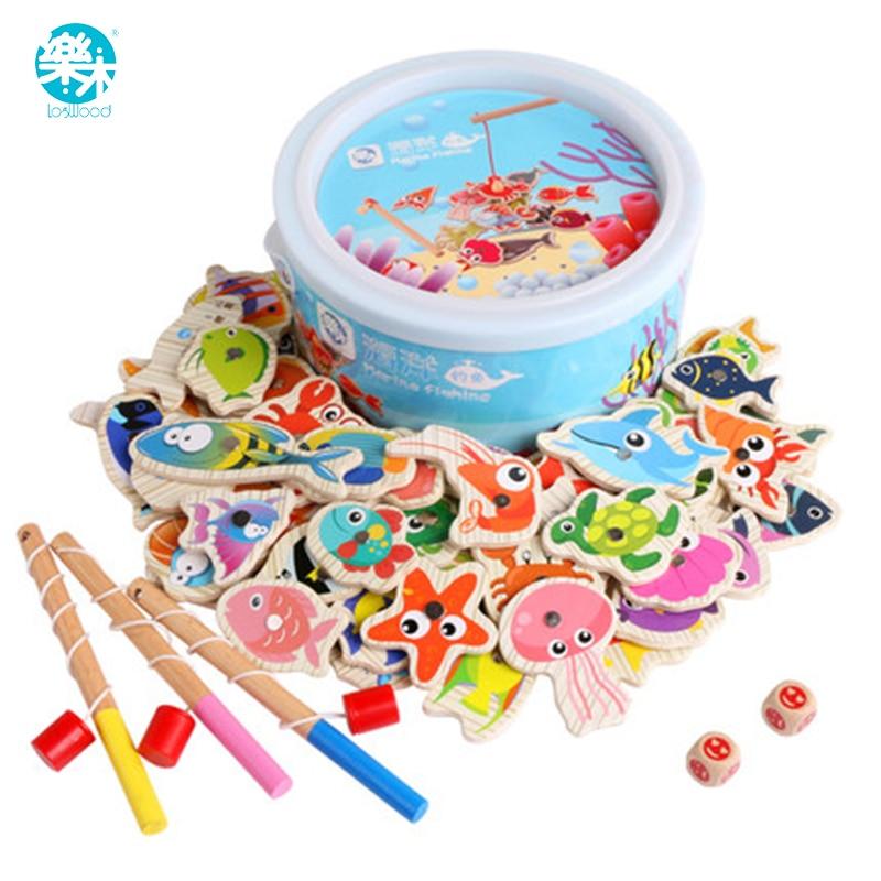 Juguetes de madera para bebés Modelos y juguetes de construcción Juguetes de pesca para niños Juego de pesca magnética 60 tipos de vida marina Juego de pesca para niños