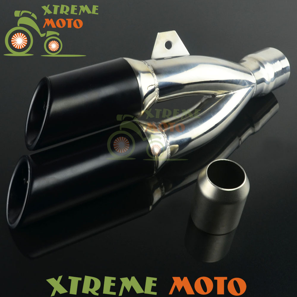 Universal 38-51mm Staninless Steel Thunder Dual Exhaust Muffler Black End Pipe Slip On For Motorcycle Dirt Street Bike Scooter