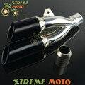 Universal 38-51mm de Aço Staninless Trovão Dupla Saída De Escape Silenciador Extremidade do Tubo Preto Escorregar Para A Sujeira Da Motocicleta Rua moto Scooter