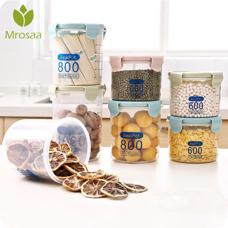 Storage-Box Grain Cans Sealed Food-Jar Transparent Plastic Kitchen Household Cereal Materi