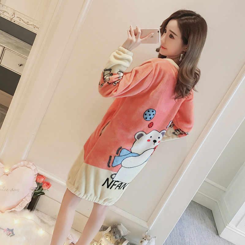 bf07585c6 ... New spring ladies girls princess Cartoon warm fleece sleepwear  nightwears nightgown sleeping hello kitty dress ...