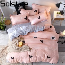 Solstice Pink Love Style Bedding Set Fleece Warm Twin Full Queen King Size Sets