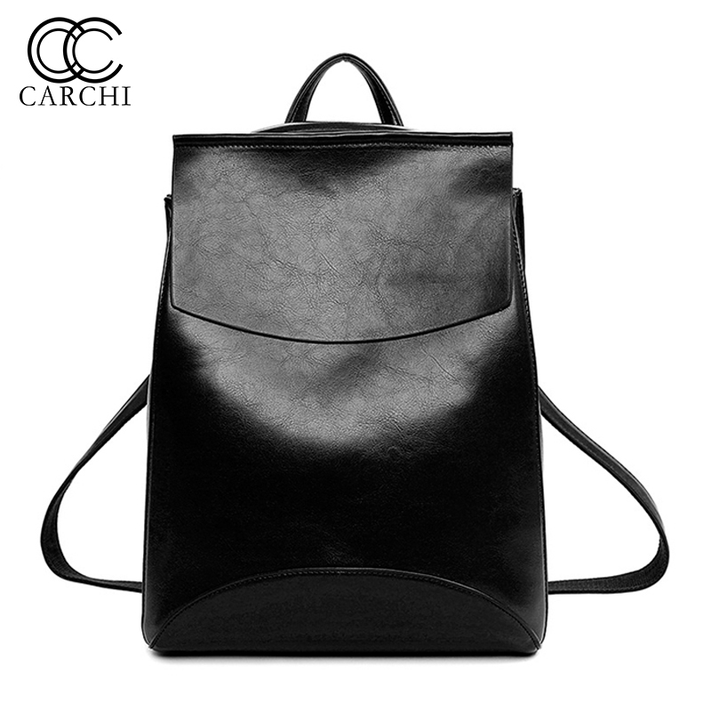 CARCHI Fashion Women Backpack High Quality Youth Travel Leather Backpack For Teenage Girls Female School Shoulder