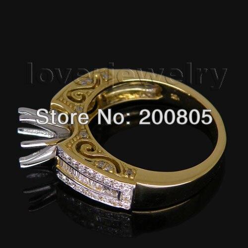 Anneau de réglage Semi rond en diamant Baguette de Style Vintage 6 8mm 18Kt deux tons R00163-in Anneaux from Bijoux et Accessoires    3