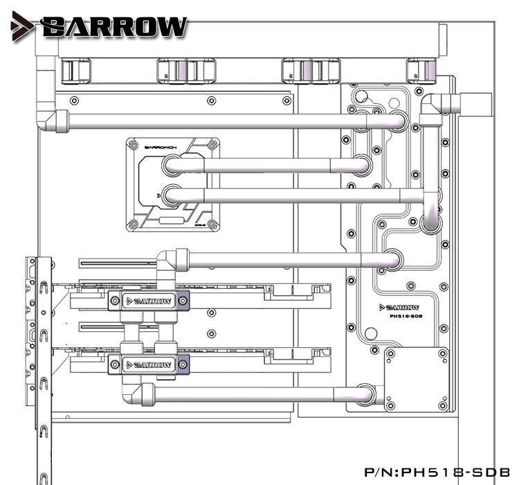 Купить с кэшбэком Acrylic Board Water Channel use for PHANTEKS 518 Computer Case / Screw Fix / Instead Reservoir / 5V 3PIN RGB Light / Combo DDC