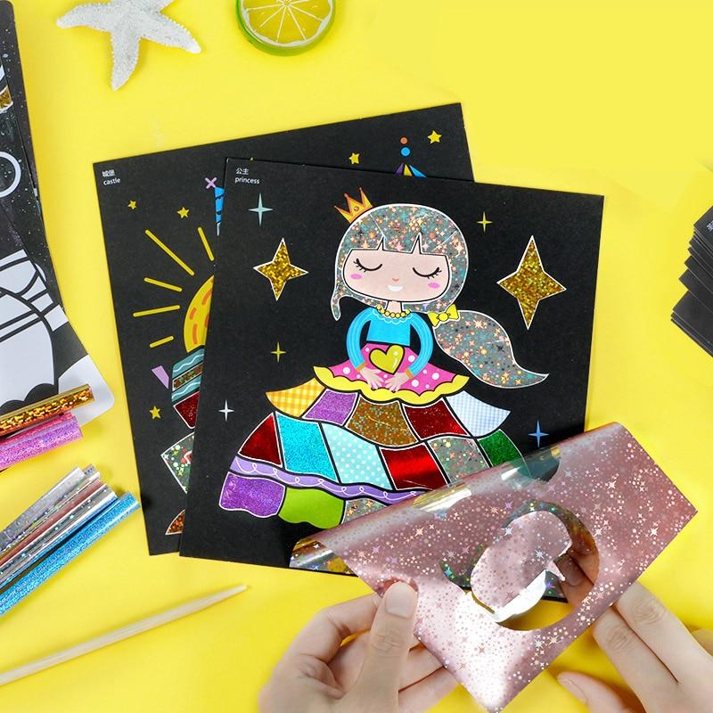 Children Magic Color Paper DIY Art Craft Toy Kids Creative Stickers Drawing Handmade Scratching Paper Craft Kindergarten Toy