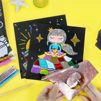 Crianças papel de cor mágica diy arte artesanato brinquedo crianças criativas adesivos desenho artesanal riscar papel artesanato brinquedo do jardim infância
