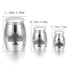 IJU020 Silver Tone Highly Polished Stainless Steel Mini Cremation Urns Tree of Life Ashes Urn Pet/Human Memorial Cremation Urn luxury high quality stainless steel elegant angel cremation urns human pet memorial keepsake urn jewelry