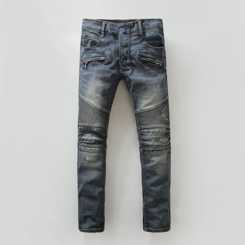 Mens Stylish Fashion Runway Biker Straight Washed Denim Jeans Knee Pleated Ripped Jeans For Men Blue  Slim Fit Patchwork pants 2017 fashion patch jeans men slim straight denim jeans ripped trousers new famous brand biker jeans logo mens zipper jeans 604