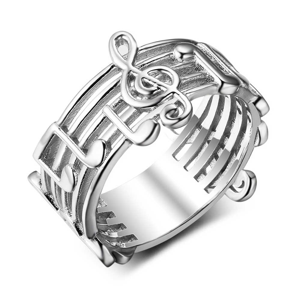 Silver Color Diamante Euryprosopic Rings Musical Note Pattern Rings for Music Lover Trendy Literature and Art for Women