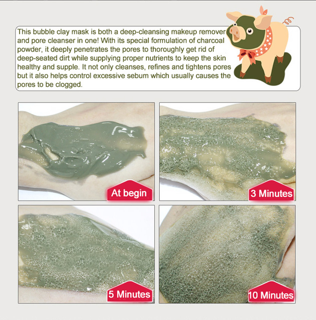 BIOAQUA Kawaii Black Pig Carbonated Bubble Clay Face Mask Facial Mask Cleaning Whitening Skin Moisturizing Anti Aging Skin Care