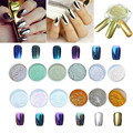 12 Colors Nail Glitter Powder Shinning Nail Mirror Powder Makeup Art DIY Chrome Pigment With Sponge Stick prego Glitter 6.66