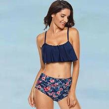 New Women 2Pcs Swimsuit Padded Push-up Floral Fruit Print Ruffles Strappy Bikini Bra Set High Waisted Bathing Suit Swimwear все цены