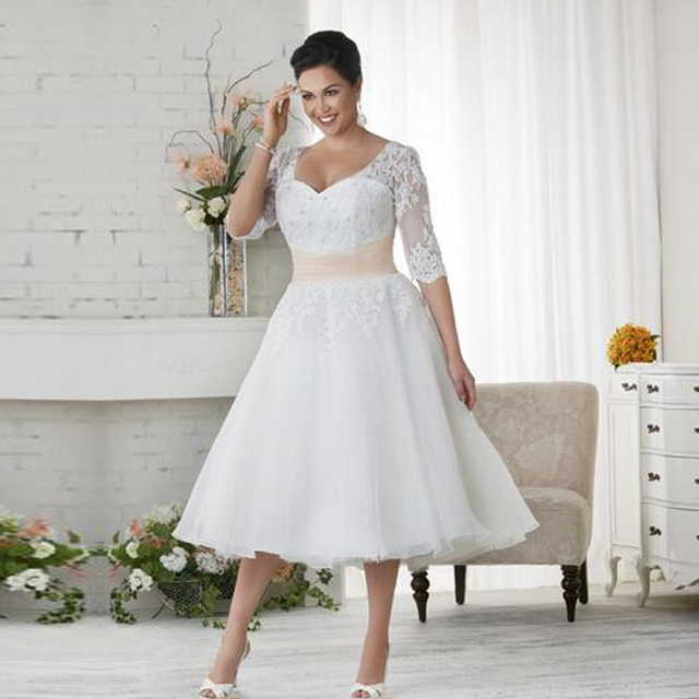 Plus Size Short Beach Wedding Dresses 2017 Organza A Line Tea Length