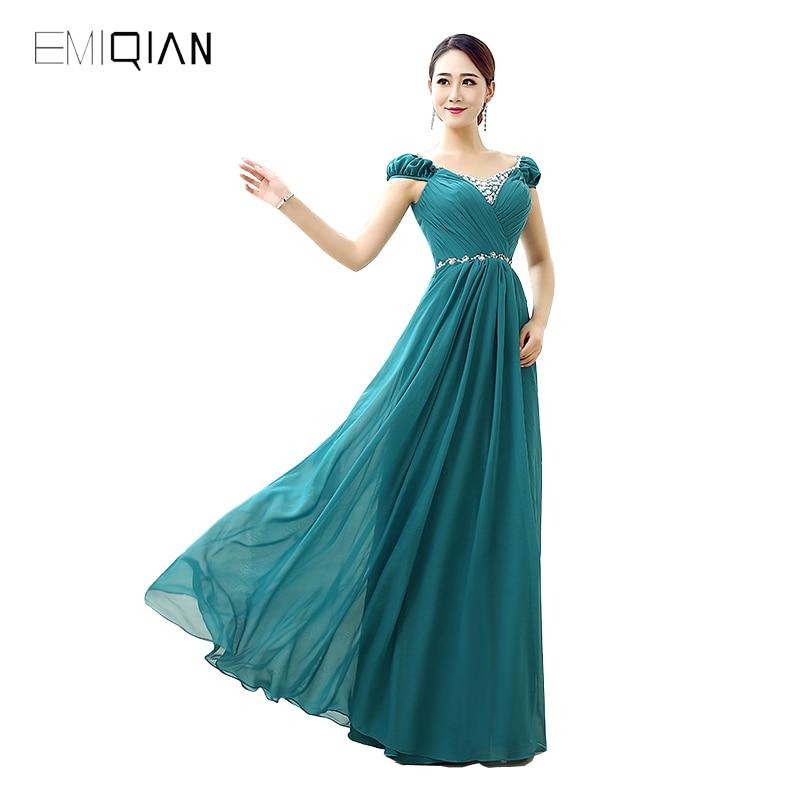 Free Shipping Charming A Line Cap Sleeve Aquamarine Chiffon Evening Dresses