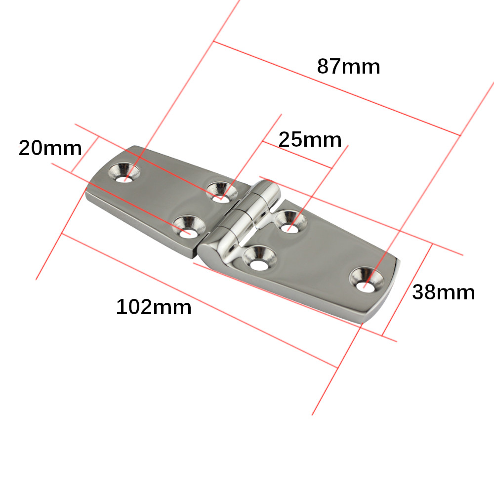 Image 2 - 4pcs Boat Marine Flush Door Hinge 4 x1.5inch(102 x 38 mm) 316 Stainless Steel Polished hinge For boat accessories marine Caravan-in Marine Hardware from Automobiles & Motorcycles