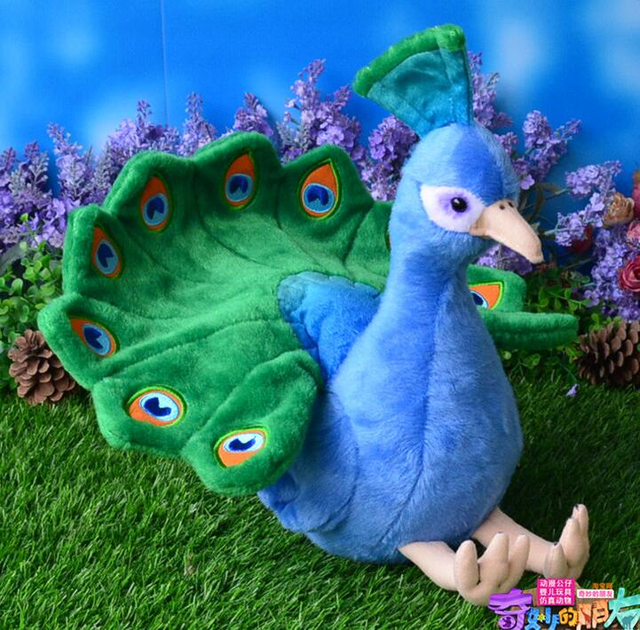 цена на Cute Blue Peacock Doll  Plush Toys  Christmas Gifts   Toy  Simulation Animal  Decoration