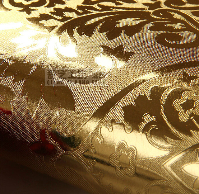 Buy european luxury gold foil wallpaper for Gold wallpaper for walls