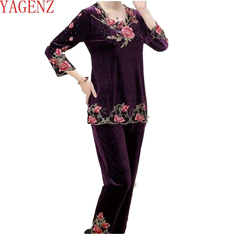 Vestiti Pleuche Mezza Dimensioni black Di 2 Kg442 Set Età Abbigliamento Donne Moda purple red Nuove Qualità Navy Yagenz Grandi Alta Autunno gyzOS5wOq