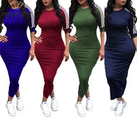 S XXXL IMYSEN Plus Size Dress Women Spring Summer Autumn New Arrive Striped Casual Dress O