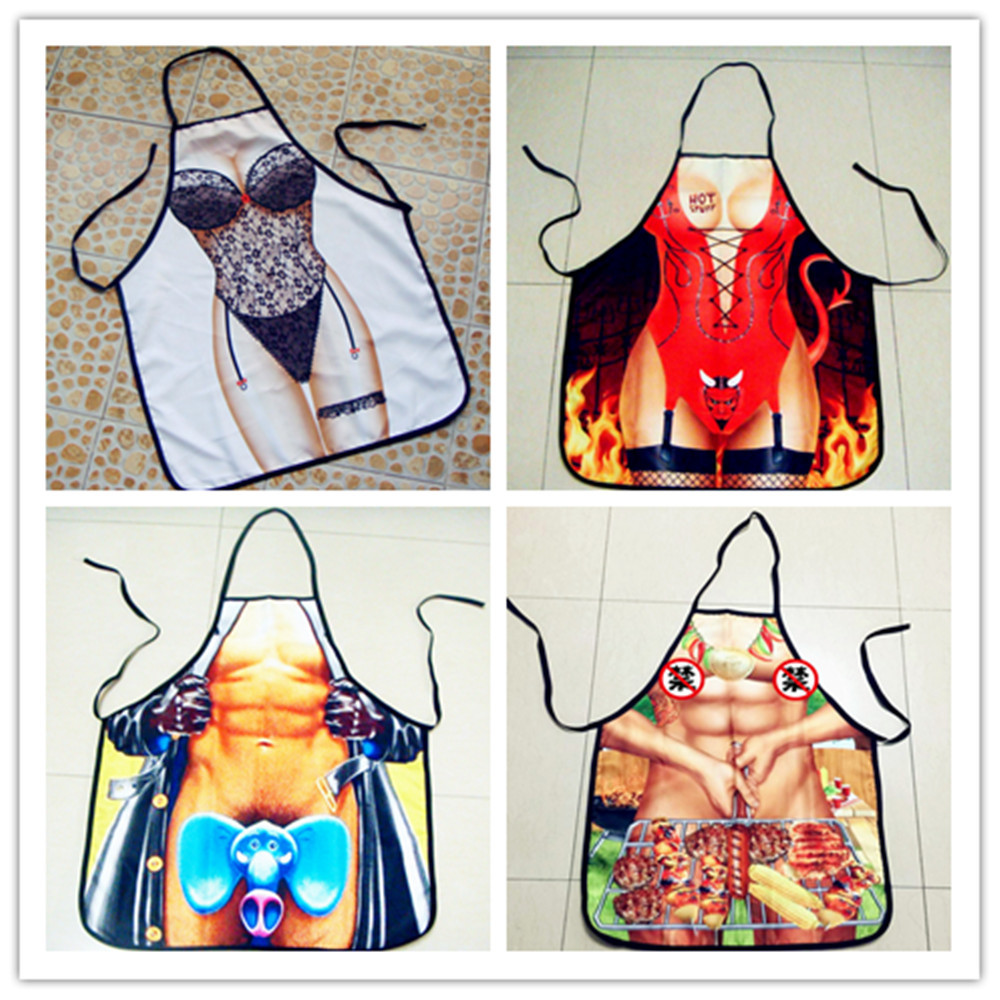 1Pcs BBQ Apron DIY Outdoor Barbecue Accessorie Polyester Lovely Printed Kitchen Cooking Home 4Types 73cm/28.4x57cm/22.2