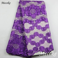 Best Quality African Lace Fabric Fuchsia Swiss Voile Lace High Quality Emboridery French Mesh 2017 Nigeria