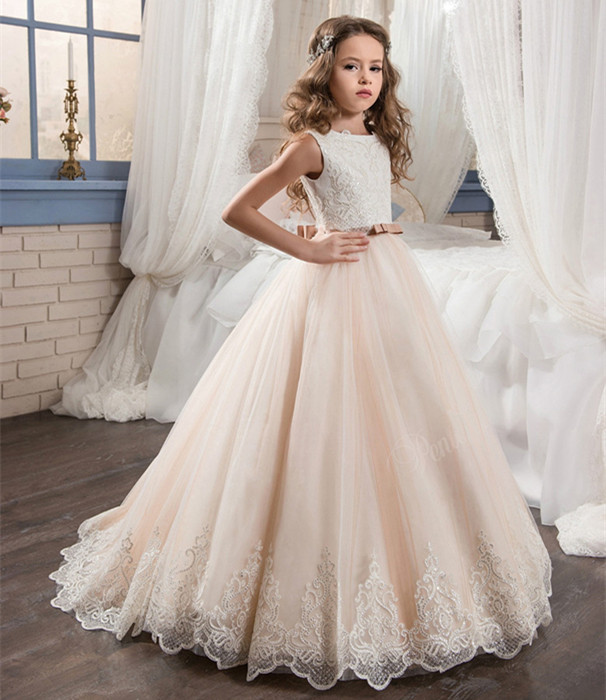 New Ball Gown First Communion Dresses O-Neck Appliques Sleeveless Court Train Flower Girl Dresses for Weddings Vestidos женское платье brand new 2015 wol o 4xl 5xl vestidos femininos pp00410 dresses page 2