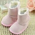Suave Forro de Felpa Botas de Bebé Muchachas del Color Sólido Botas Antideslizantes Zapatos de Invierno Recién Nacido