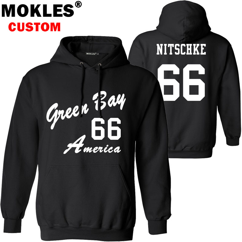 NITSCHKE pullover free custom name number logo usa ray autumn winter jersey keep warm raymond ernest pure black IL blue clothing