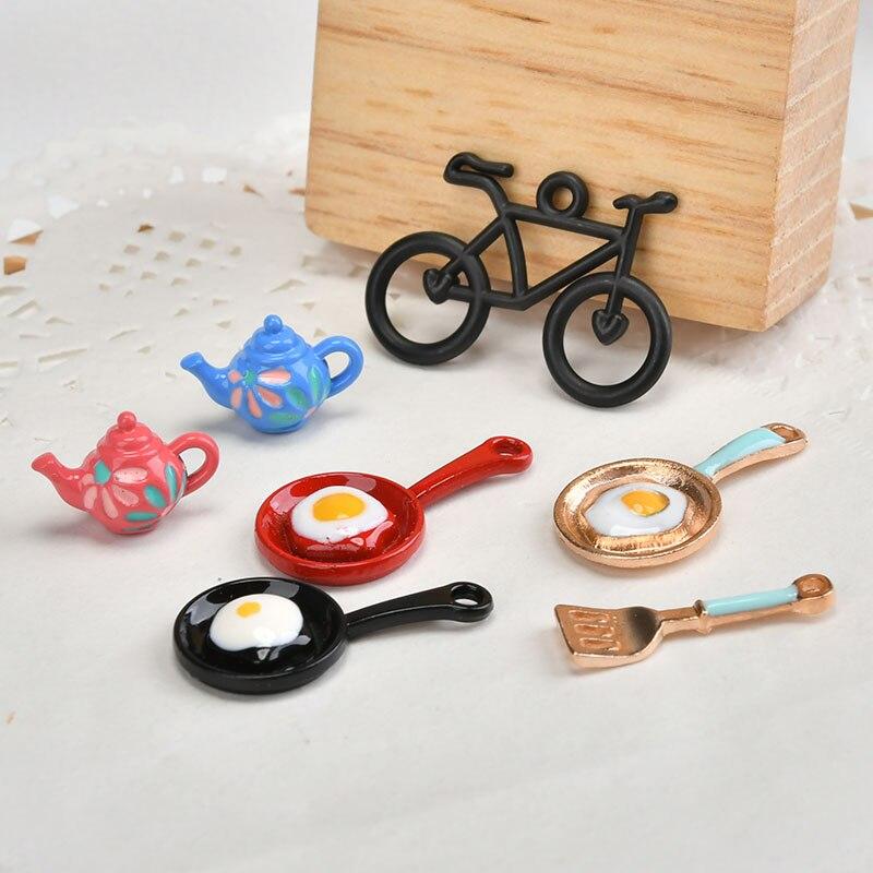 Creative new style 30pcs/lot bicycle/saucepan/teapot shape alloy fashion charms Diy jewelry earrings pendants accessory