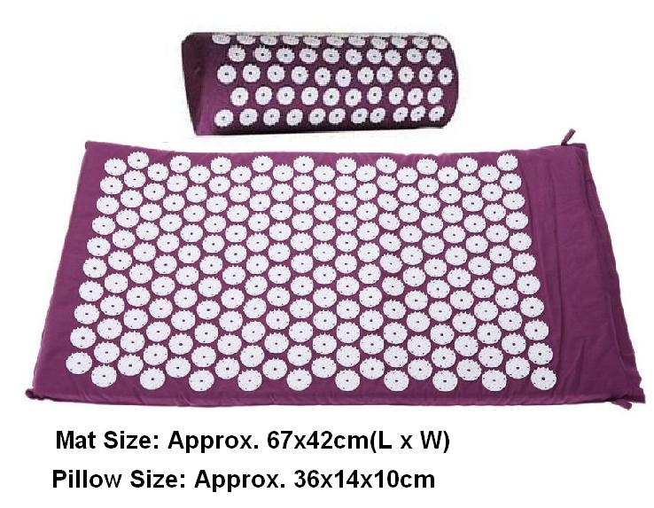 Massager (appro.67*42cm)Massage cushion Acupressure Mat Relieve Stress Pain Acupuncture Spike Yoga Mat with Pillow Drop shipping