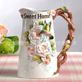 ceramic creative rose Hummingbirds flowers vase pot home decor crafts room wedding decorations handicraft porcelain figurines