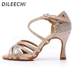 Image 3 - Женские туфли для латиноамериканских танцев DILEECHI, черные атласные туфли с блестящими бронзовыми стразами, вечерние бальные туфли для сальсы, каблук 9 см