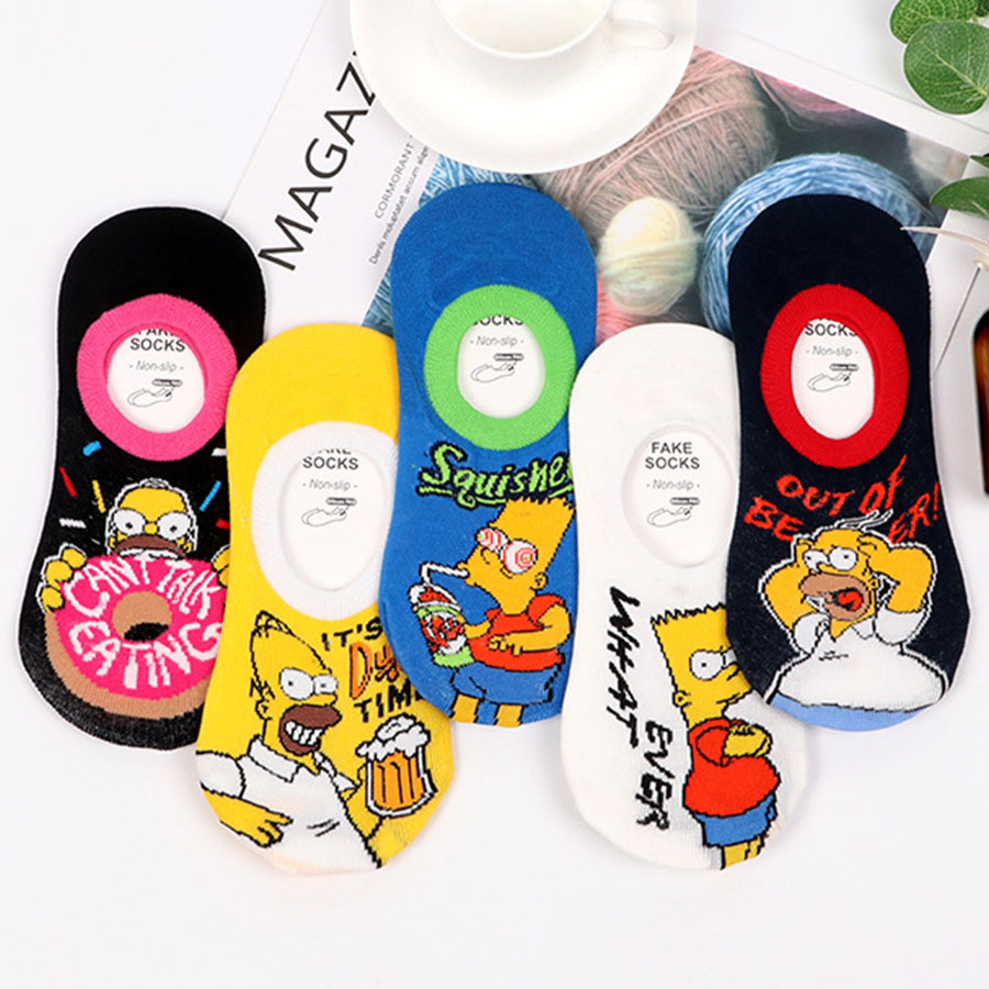 Kawaii Cartoon Anime Funny Socks Women Novelty Cute Summer Low Cut Ankle Socks Teen Girls Simpsons No Show Socks Silicone Slip