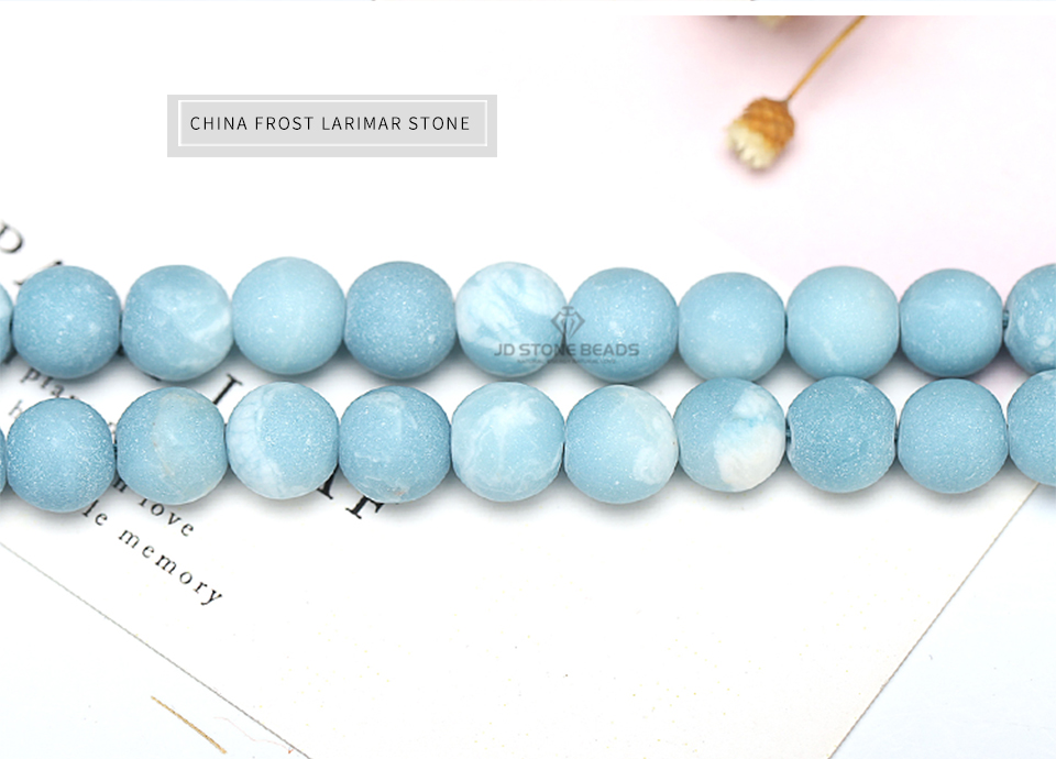 HTB1KyUWXjDuK1Rjy1zjq6zraFXaO 6 8 10 12MM Larimar gemstone Round Loose beads Matte Ocean Sea stone bracelet necklace for jewelry Making