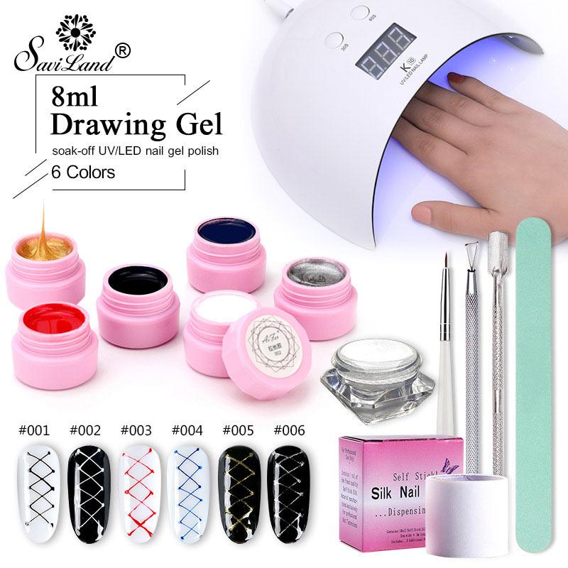Saviland 13 Pcs Lacquer Kits UV Lamp Dryer Nail Gel Creative Wire Drawing Painting Nail Gel Nail Varinsh Set for Nail Art Tools nail art drawing