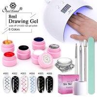 Saviland 13 Pcs Lacquer Kits UV Lamp Dryer Nail Gel Creative Wire Drawing Painting Nail Gel Nail Varinsh Set for Nail Art Tools