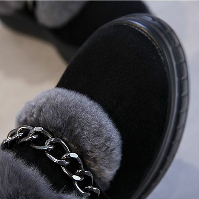 Plataforma Piel Invierno De Zapatos Mujeres Moda Rebaño Señoras Genuino Black Los Las Planos Pisos Casuales Conejo gray Cuero Borroso Negro 0WdqXr8wd