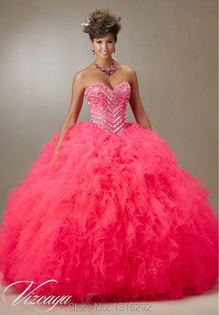 467be966a68 Sparkly Beaded Sweetheart Organza Ruffles Hot Pink Quinceanera Dress Ball  Gowns 2015 vestido de debutante para 15 anos