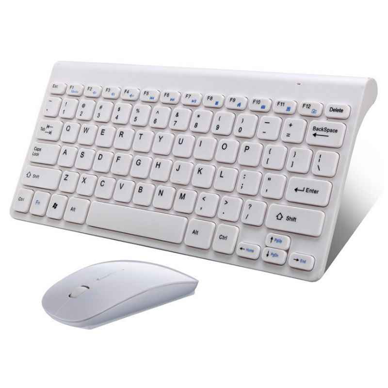 2.4G USB Wireless Keyboard Mini Portable Multimedia Keyboard Mouse Combo Set untuk PC MAC Desktop Komputer Laptop Macbook Notebook