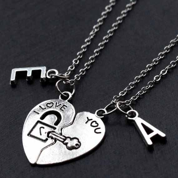 f707c0c811 ... custom initials his and her boyfriend girlfriend necklaces set,  friendship Best Friends broken heart set ...