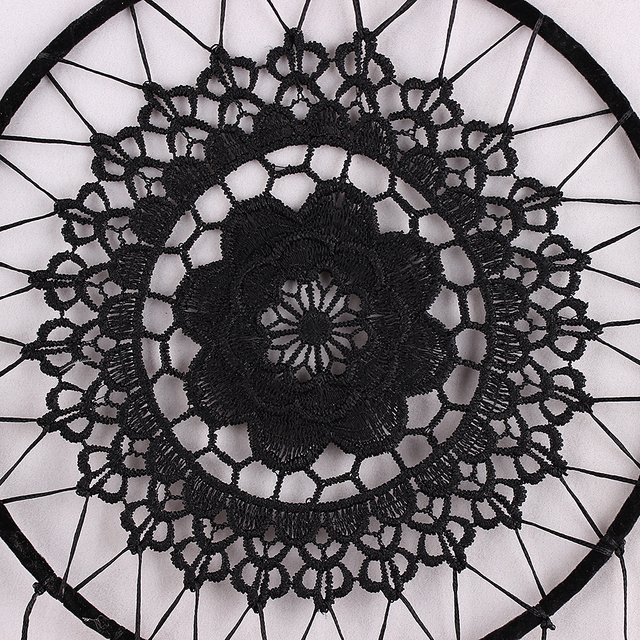 Handmade Dreamcatcher Black Feather Lace Indian Dream Catcher Bead Hanging Decoration Ornament Gift