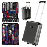 WORKPRO-Juego de Herramientas para el hogar, caja de herramientas de maletín Kit de reparación, carrito de aluminio, Kit de herramientas de mano, 111 piezas