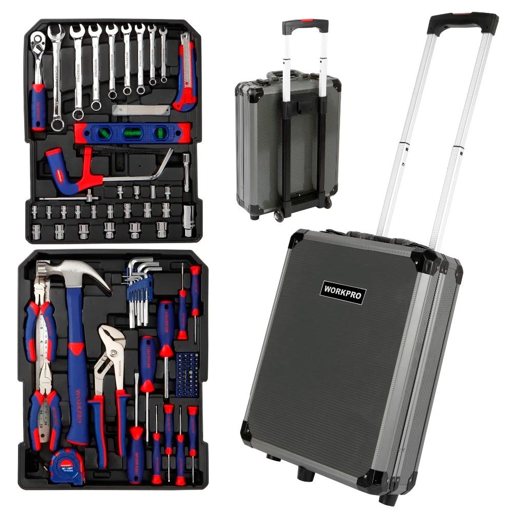 WORKPRO 111PC Tool Set Hand Tool Kit  Aluminum Trolley Case Tool Box Set Repair Kit Home Tool Set