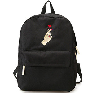 Image 5 - Menghuo Men Heart Canvas Backpack Women School Bag Backpack Rose Embroidery Backpacks for Teenagers Womens Travel Bags Mochilas