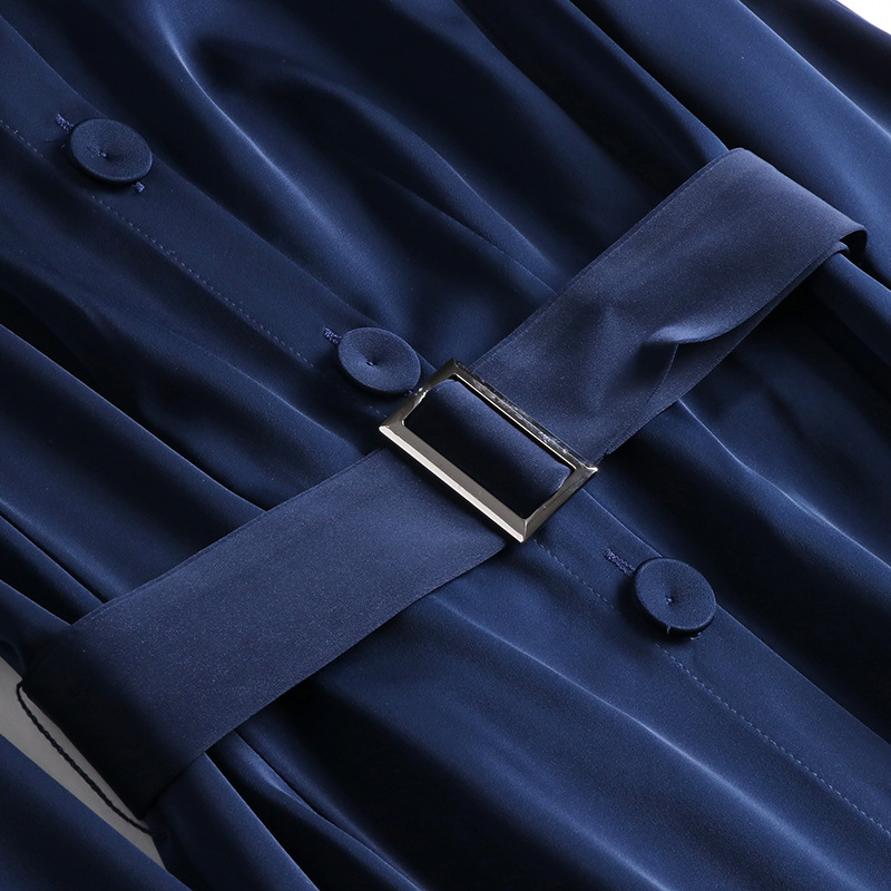 Pour Longues Blue Ouvrir Couleur D906002 2019 Au Longueur Un Revers Printemps Robe Single Femmes 2018 Début breasted Moyen Manches Dark Du Solide Nouveau qBZW56xwU