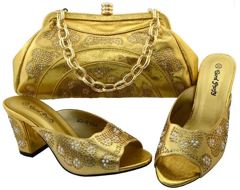 Чудесные золотые сандалии с сумка Модные женские туфли и сумочка с блестящими камнями bch-40