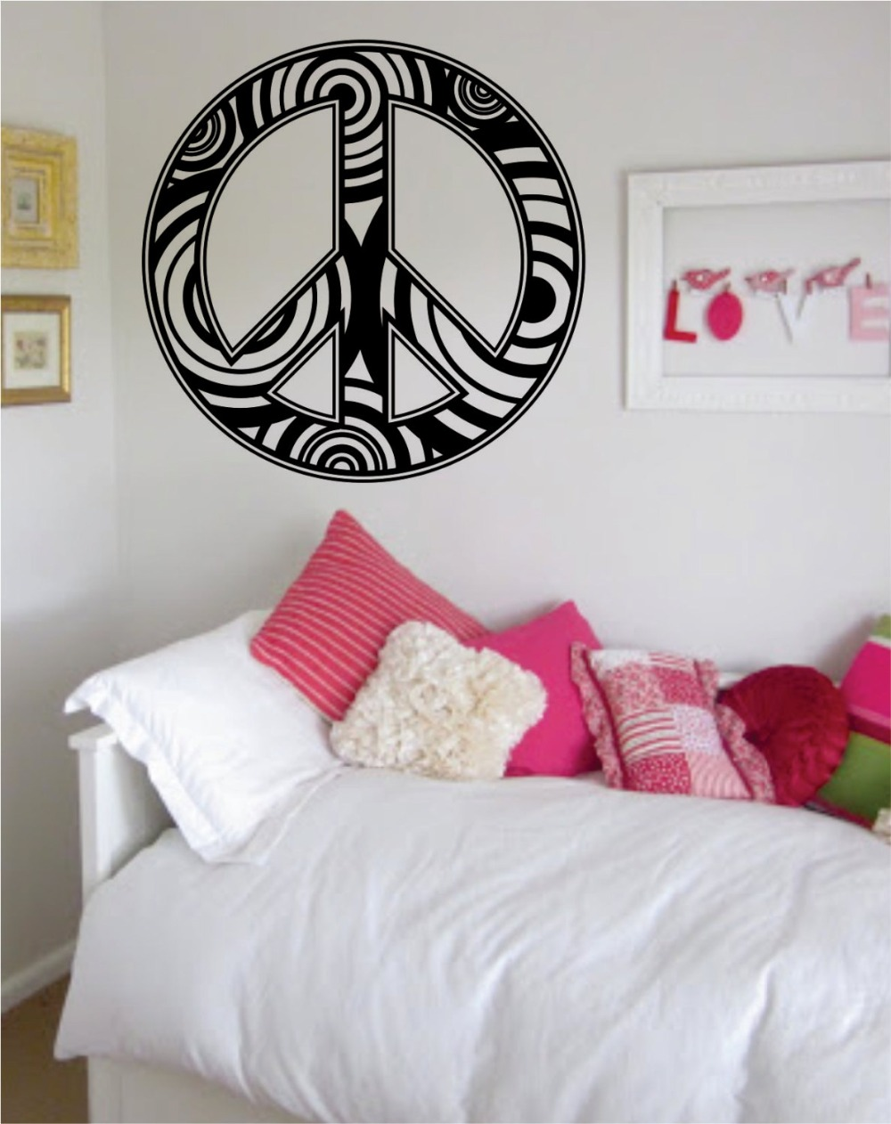 US $9.68 25% OFF|Peace Sign Symbol Wall Decal Vinyl Wall Stickers For Kids  Room Boys Girls Bedroom Peace Pattern Design Home Decor Art DIY SYY579-in  ...
