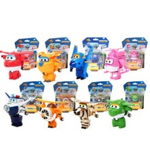 New Hot 8PCS/Set Super Wings Mini Airplane ABS Robot toy Action Figures Wing Transformation Jet Cartoon Children Kids Gift