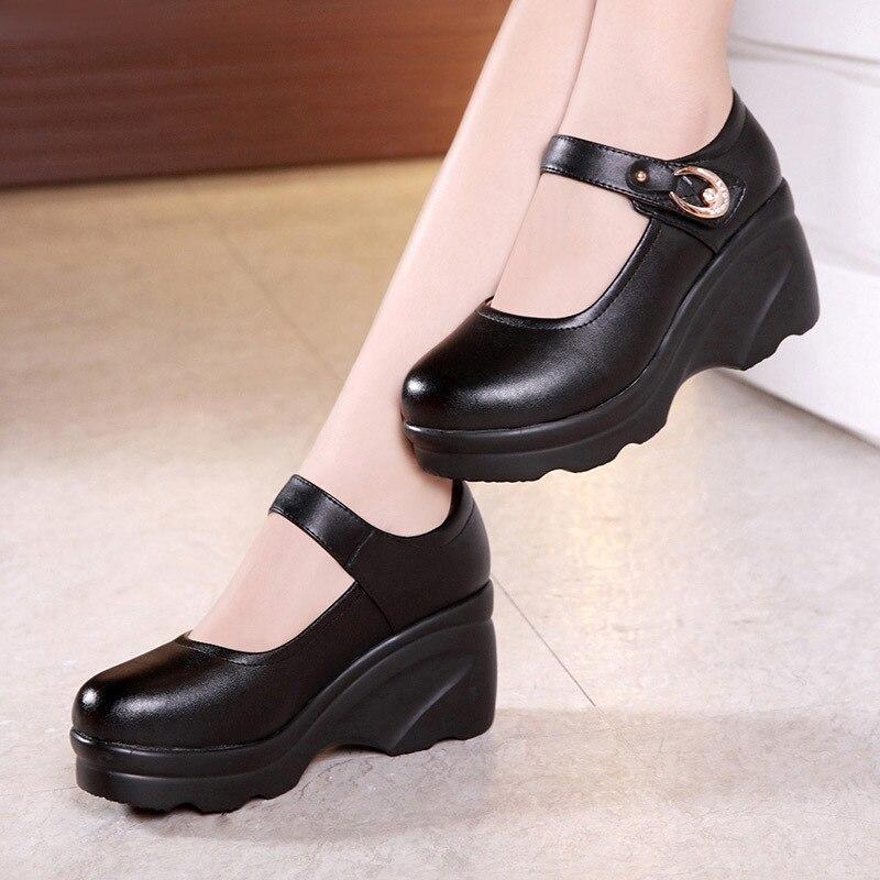 Pour Printemps forme Femme Travail Noir Talons Split Haute Chaussures En 2019 Pompes Cuir De Chaussure Creepers Femmes Coins Plate Automne wqwRz1g6Yx
